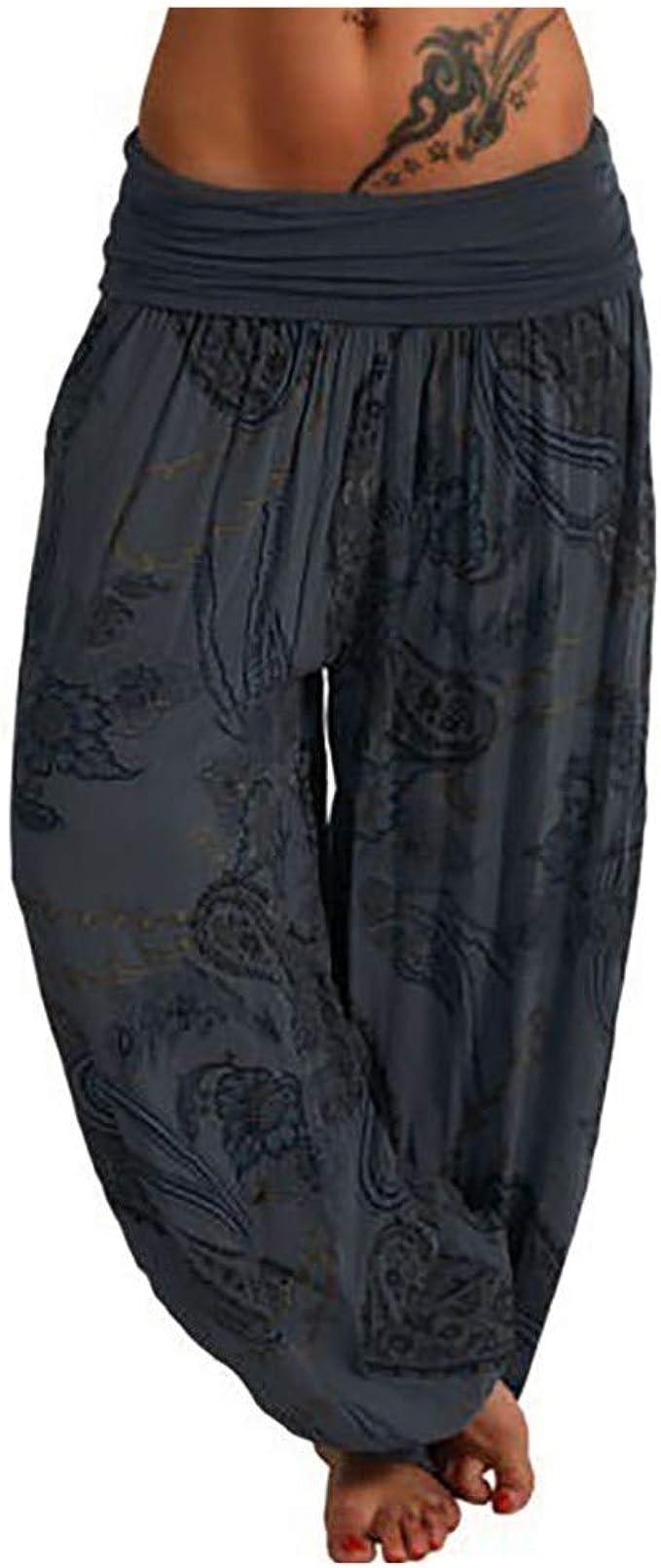 Amazon.com: Seryu - Pantalones de harén sueltos con botones ...