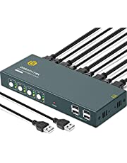 HDMI 2.0 KVM Switch, 4K@60Hz (YUV 4:4:4) USB KVM Switch HDMI 4 Port Boxes, 4 in 1 Out with 4 USB 2.0 Hub, Compatible with Most Keyboards and Mouse, Button Switch for Windows, Linux, Unix and Mac etc