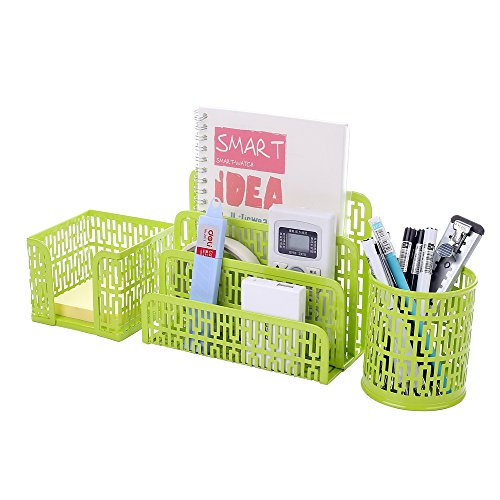 Crystallove Set Of 3 Metal Mesh Office Desk Accessories Organizer,  Green Style 1