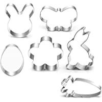 Large Spring Easter Cookie Cutter Set - 7 Piece - Egg, Carrot, Bunny, Flower, Chick, Bunny Face and Butterfly - Stainless Steel