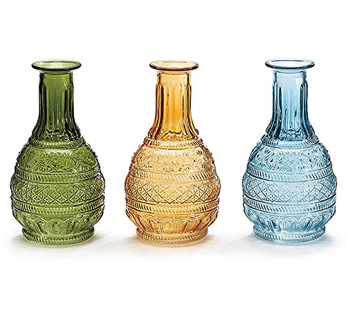 Decorative Pressed Glass Vases, Set of 3