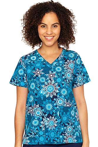 Med Couture Women's Anna Print Scrub Top, Snowflake Serenade, XX-Large