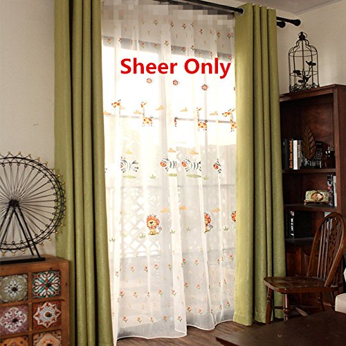AiFish Rustic Floral Sheer Curtains Embroidered Sheer Curtain Panels Lion Giraffe Zebra Embroidery Animals Zoo Gauze Panel Voile Yarn Window Drape Curtains for Kids Room Bedroom 1 Panel W39 x L63 inch