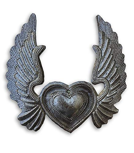 (Metal Heart with Wings, Small Flaming Heart, Flying Heart,Angel Wings, milagro Charms, Ornamental Handmade 5