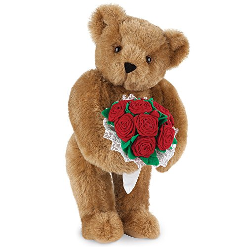 Vermont Teddy Bear - Classic Teddy Bear with Velvet Roses, 15 inches tall, Made in the USA