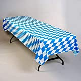 Oktoberfest Bavarian Blue Diamonds Plastic Table Cover Roll 40'' x 150'