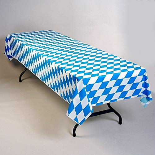 Oktoberfest Bavarian Blue Diamonds Plastic Table Cover Roll 40'' x 150' by Table Mate