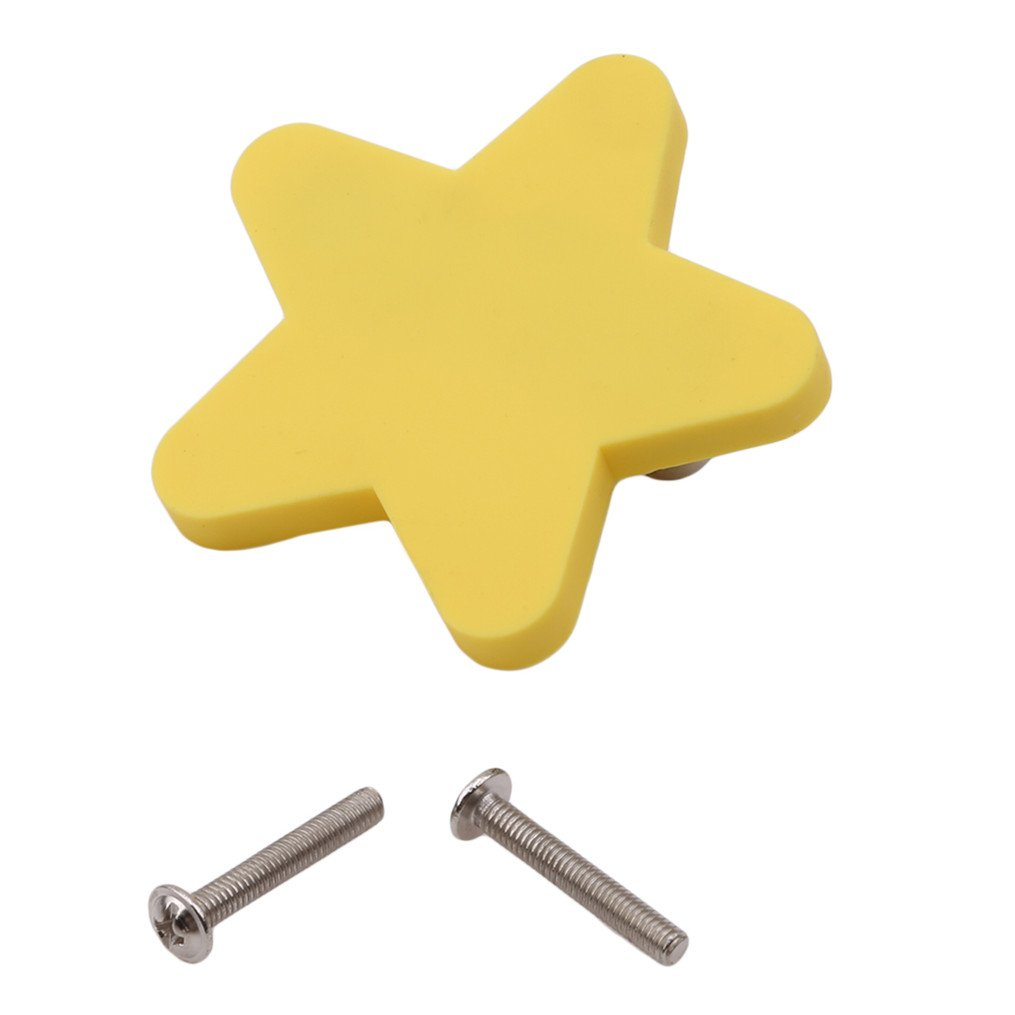 Edtoy Personality New Children's Room Cartoon Wardrobe Door Handle, Cabinet Door Drawer Handle (Yellow Star)