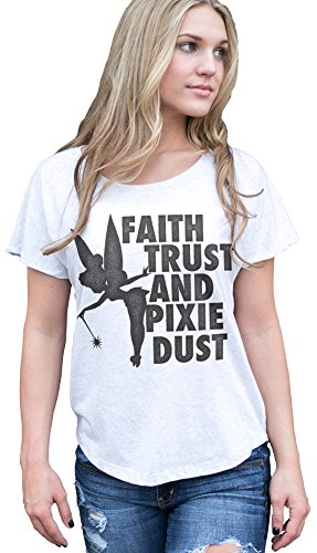 Superluxe™ Womens Faith, Trust and Pixie Dust Tinkerbell Dolman T-Shirt, Heather White, X-Large - Reunion White T-shirt