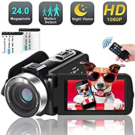 Video Camera Camcorder, 1080p 30FPS Digital YouTube Vlogging Camera Recorder with LED Fill in Light Support External…