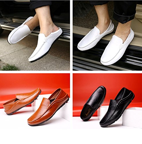 Leather Shoes Shoes Black Men Dress Synthetic Casual Loafers Slip Oxfords Formal Leather Flat Boat On Business aaI8zq