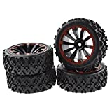 rc tires and wheels - JIUWU 4 x RC 1:10 Scale Wheel Rims + Tires Crossing Pattern for RC On-Road Black