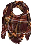 Stylish Warm Cape Chunky Blanket Stripe Scarf Soft Oversized Shawl Scottish Wrap Plaid Blanket with Tassels
