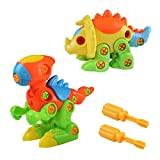 Akokie 88718 Dinosaurs Assembly Monoclonius Tyrannosaurus Take-apart Pull along Animal Dino Puzzle Toys for Children from 3 to 6 Years Old
