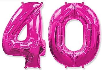 FIESTADEKOR (Oferta Antes 11,90€) Globo número 40 para Fiestas de cumpleaños, XXL Medida 100 cm, inflándolo con Helio flotará Durante 5/6 días. ...
