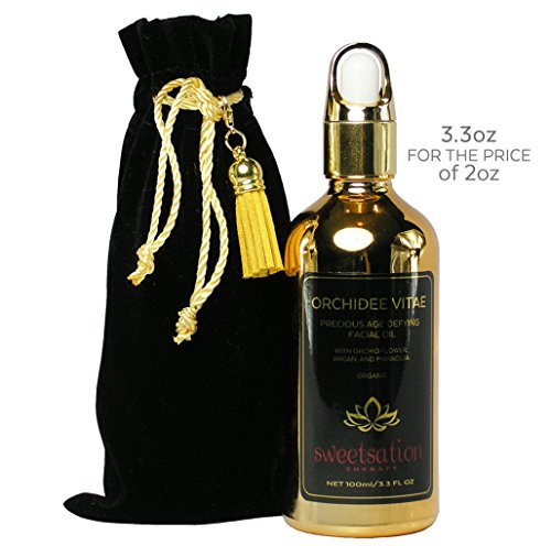 LIMITED EDITION Orchidee Vitae Best Precious Organic Anti-Aging Face oil w/ Orchid Flower, Argan, Maracuja, Rosehip, Moringa, Prickly Pear 3.3oz. Best Moisturizing Facial Oil Treatment, w/ Vitamin C