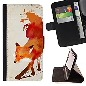 - Fox Red White Watercolor Painting Art - - Monedero PU titular de la tarjeta de cr????dito de cuero cubierta de la caja de la bolsa FOR Apple Iphone 4 / 4S RetroCandy
