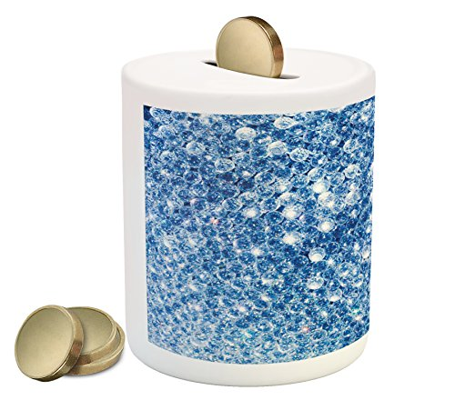 Diamonds Piggy Bank by Lunarable, Various Diamonds in Storm Abstract Style Blue Color Vivid Rocks Crystal Love Theme Image, Printed Ceramic Coin Bank Money Box for Cash Saving, Blue (And Pools Patios Crystal Blue)