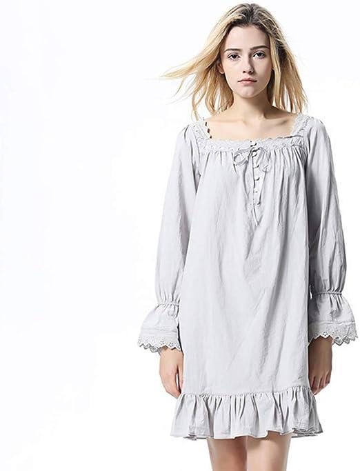 WX-ICZY Cómoda Pijama de algodón, Encaje Encaje Manga Larga de ...