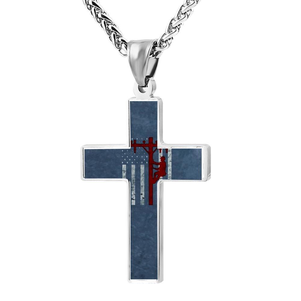 Wine Jianxian American Flag Lineman Patriotic Cross Religious Jewelry Pendant Necklace