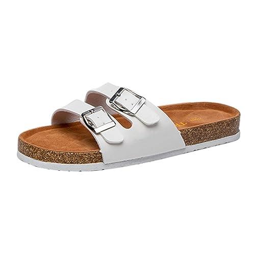 ZKOO Sandalias de Dedo Mujeres Vendaje Footbed de Corcho Chanclas de Playa Punta Abierta Sandalias Planas Zapatos de Hebilla Al Aire Libre Rojo lVd44