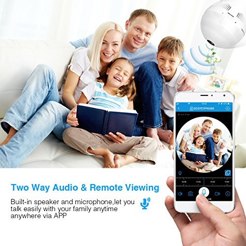 Wireless Security Bulb Camera, FirstPower 960P Home Security Surveillance Camera 360 Panoramic IP Camera with Night Vision Two Way Talking Motion Detection for Android IOS Phone by FirstPower (Image #6)