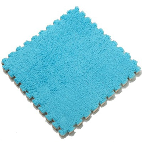 Eva Plush - fantastic me Furry Plush Eva Foam Anti-Slip & Durable Carpet Rug Soft Cushion Mats - Set of 9 Tiles(12x12 inches)-Ideal for Nursery Decor,Playroom & Kids Baby Room (Blue)