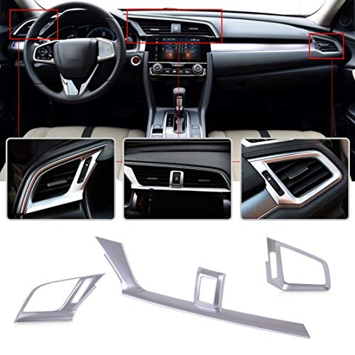 Silver Plated Console - 3Pcs Silver Chrome Plated Console Dashboard Air Condition Outlet Vent Trim Cover for Honda Civic 2016 2017