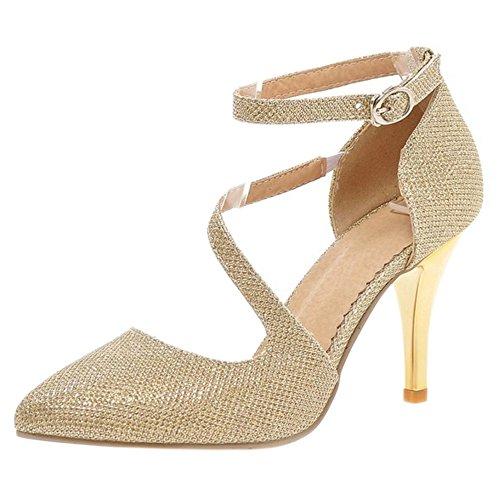 Coolcept Mujer Correa de Tobillo Bombas Zapatos Gold