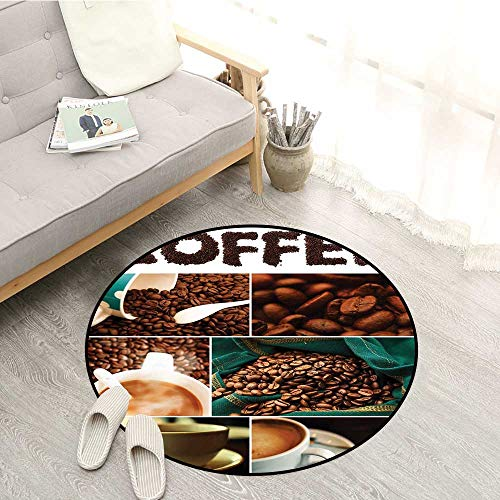 Coffee Custom Rugs Photo Collage of Urban Coffee House Preparing The Drink Relaxing with a Cup of Joe Rustic Home Decor 5'3