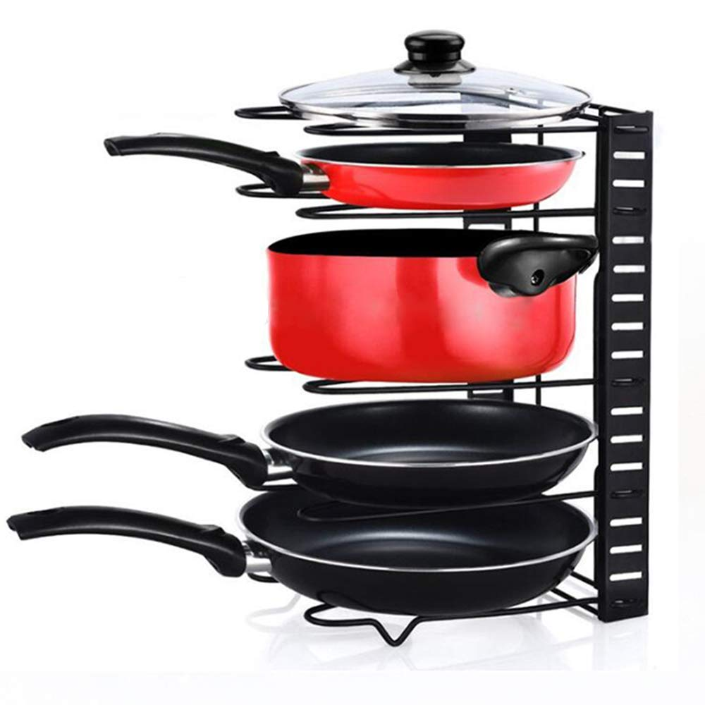 Home-Neat 5 Pans Heavy Duty Cookware Pan Organizer Holder, Pot Lid Rack for Kitchen, Counter, Cabinet, Pantry Storage Solution