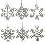 ShalinIndia Set of 6 Handmade Large Snowflake Iron and Glass Pendant Christmas Ornaments Set, 9 Inches
