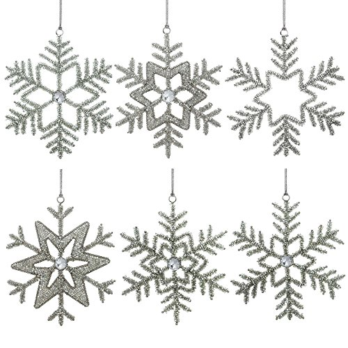 Set of 6 Handmade Large Snowflake Iron and Glass Pendant Christmas Ornaments Set, 9 Inches