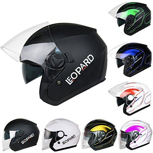 b67662b5 Leopard LEO-608 Double Sun Visor Open Face Motorbike Motorcycle Helmet Road  Legal - L (59-60cm): Amazon.co.uk: Car & Motorbike