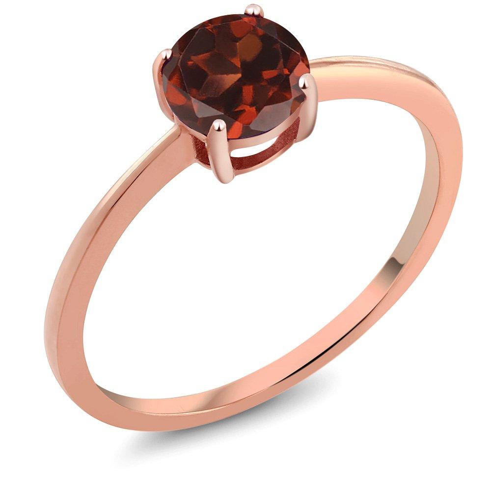 10K Rose Gold 1.00 Ct Round Red Garnet Engagement Ring (Size 6)