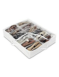 Whitmor 6044-3151 White Crystal Collection Underbed Shoe Bag, White/Clear