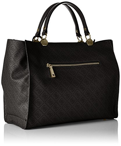 Guess Womens Cammie Faux Leather Monogram Satchel Handbag Black Large   Amazon.ca  Shoes   Handbags 26d2eccb2ceec