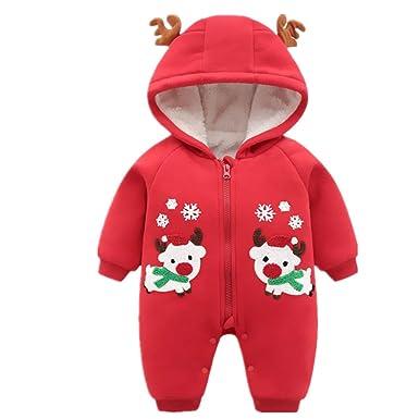 62ba4b17a84a5 ZAMAC Unisexe bébé Barboteuses Motif de Wapiti de Noël avec Chapeau Foulard  Coton Combinaison d