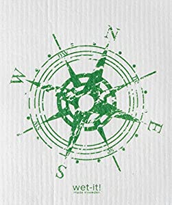 Swedish Treasures Wet-it! Cleaning Cloth, Compass in Green, Super Absorbent, Reusable, Biodegradable, All-purpose