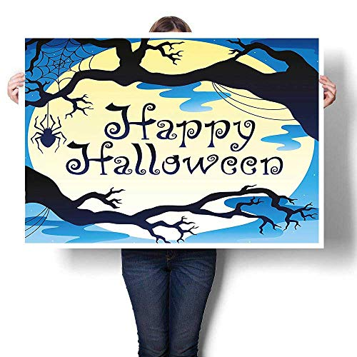 Panels Wall Art Waves Painting on Canvas,Collection Happy Halloween Quote Spooky Night Moon and Branches Shadows Haunted Lights Yel canvas,Paintings for Wall Decor,40