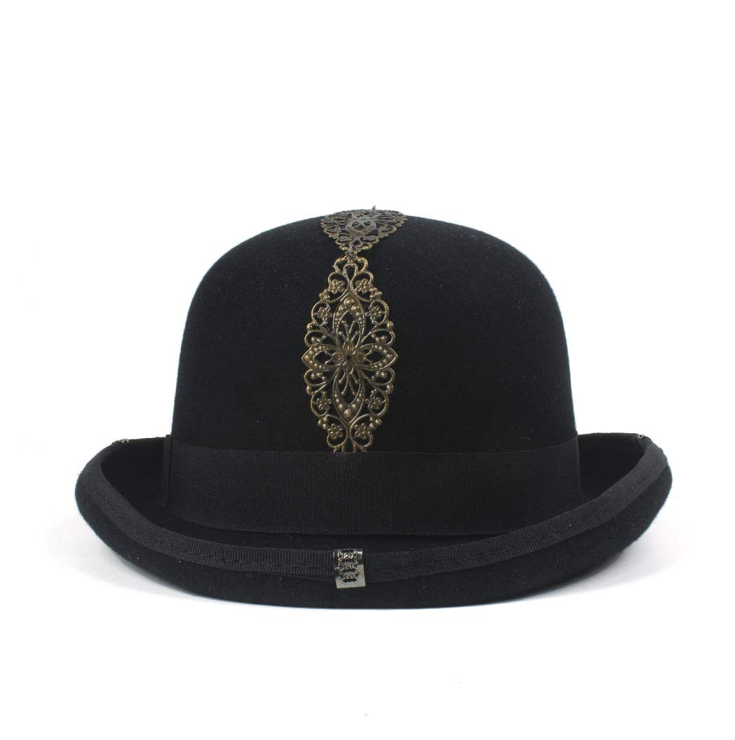LL Women's Vintage Steampunk Gear Glasses Black Top Hat Brown Fedora Party Bowler Headwear (Color : Black, Size : 57cm) by LL (Image #2)