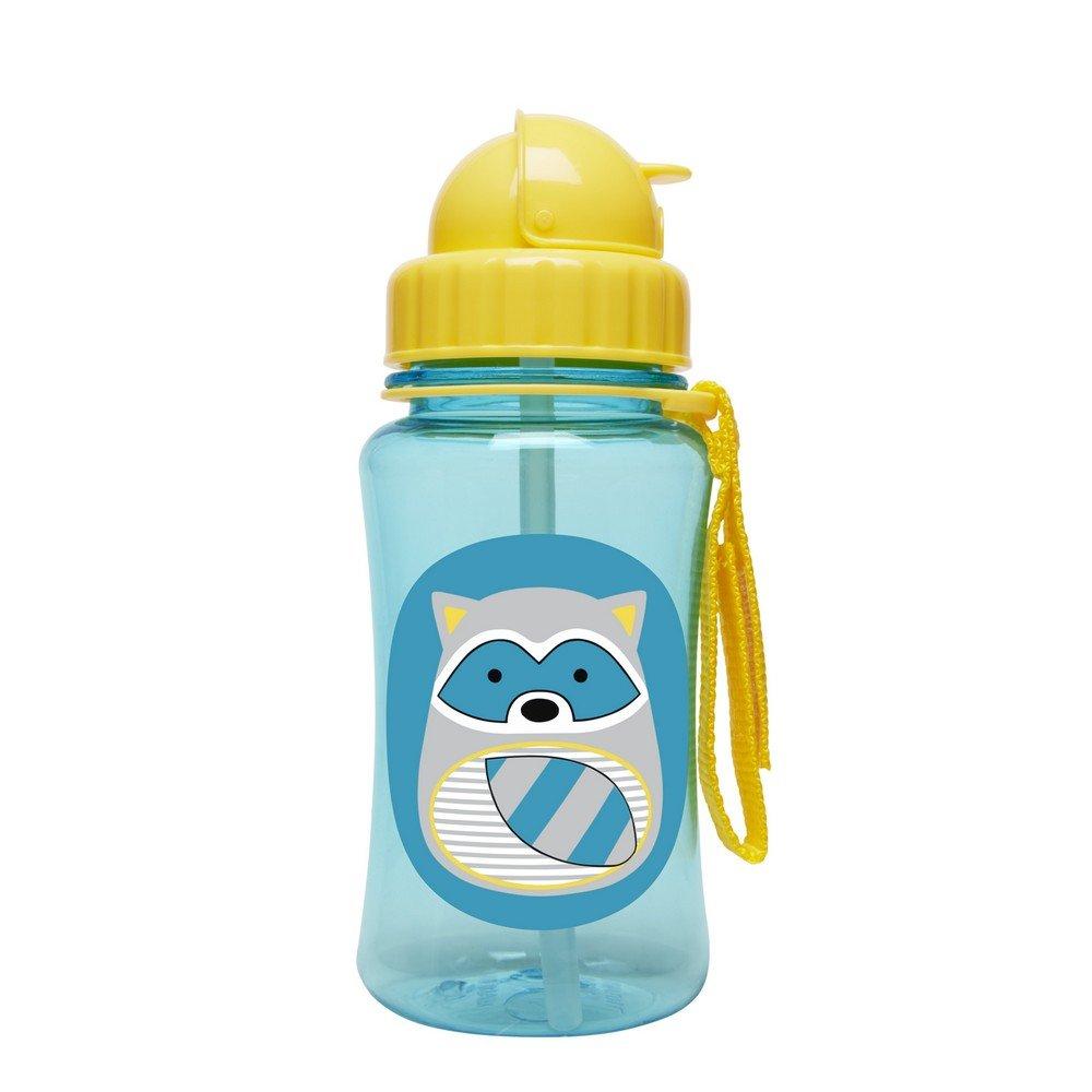 Skip Hop Zoo Straw Bottle, Holds 12 oz, Riggs Raccoon