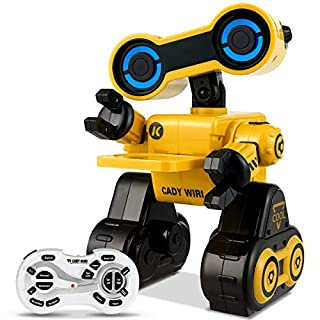 Costzon Robot Toy for Kids, Programmable Interactive RC Robot w/ Remote Control, Educational Intelligent Robot Kit, Touch & Sound Control, Speak, Walk, Dance, Sing, Rechargeable Robotics Gift (Yellow)