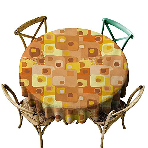 Retro Oilcloth - 100% Polyester round tablecloth 70 inch Retro,Abstract Square Pattern Rounded Funky Geometric Modern Ornament Tiled Illustration,Multicolor 100% Polyester Spillproof Tablecloths for Round Tables