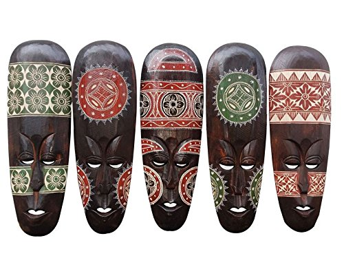 Gorgeous Set Of (5) Hand Chiseled Wood African Style Wall Decor Masks