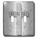 3dRose (lsp_264281_2) Double Toggle Switch (2) Amazing Grace Silver Christian Cross with Swirls Elegant and Simple