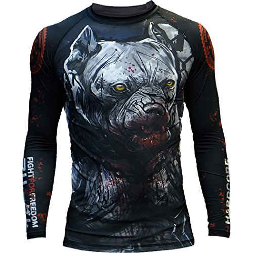 Hardcore Training Rash Guard Pitbull City - Men Long Sleeve - MMA UFC Grappling Cage Fight Fitness -XXL