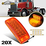 Partsam 6'' x 2'' Led Side Marker Lights Clearance Cab/Sleeper Panel Lights w/ 21 Amber LED Reflectors Faceted Sealed 3 wires For 1993-2017 Peterbilt 379 1999-2015 Peterbilt 389 (Pack of 20)