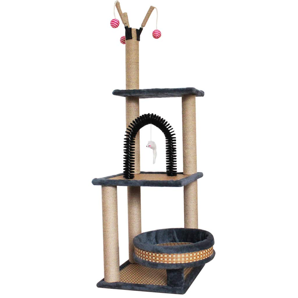 Cat Trees Cat Climbing Frame, Short Plush Natural Sisal Cat Tree Tower Scratch-Resistant Durable and Wear-Resistant Cat Tree A2 Cat Houses