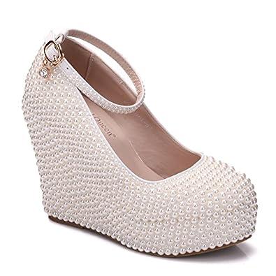 Damenschuhe Keil Perle Hochzeit Schuhe Wasserdicht Plattform, 33, Weiß LEIT